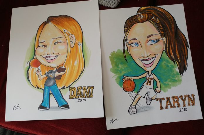 2 caricatures for a local basketball team